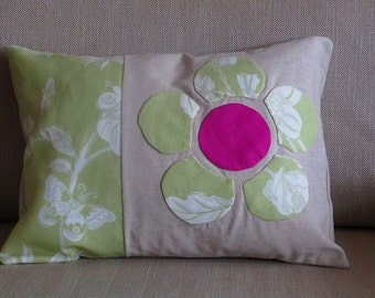 Handmade country style lumber cushion with beautiful hand-stitched flower design