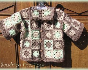 Waistcoat jacket baby 24 months wool knitted hand crochet Green Brown