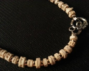 Gold and Bone Colored Bead Necklace
