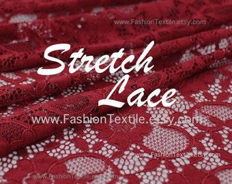 Burgundy Stretch Lace Fabric - Express delivery