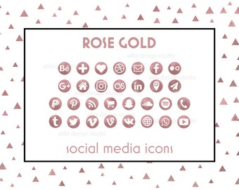 Rose Gold Social Media Icons / Rose Gold Icons / Glam Rose Gold Buttos | Icons for website, blog, business cards / Social Media Buttons