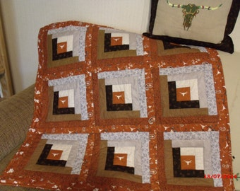 University of Texas, Longhorns, Hook um Horns, Quilt and Pillow Set, Dorm Ideas,  Birthday Gift, Back to School