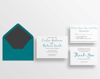 Sample: Typography wedding invitations | Simple typography invite | Personalised modern wedding stationery | Bespoke wedding invite set