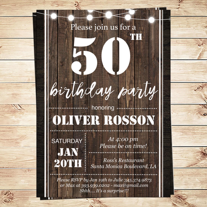 Printable 50th Birthday Invitations Templates Printable