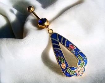 Vintage Cloisonne Navel Belly Ring Cobalt Blue