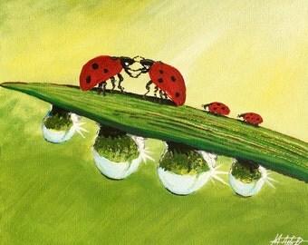 Frühling Marienkäferfamilie, Acrylmalerei  auf Leinwand