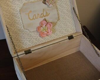 Elegant Wedding Card Box! I LOVE YOU print and blush floral details! Wedding decor, wedding keepsake, wedding memory box, vintage wedding