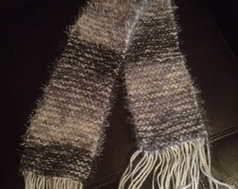 Handmade black/white scarf. 1/2 proceeds go to charity!
