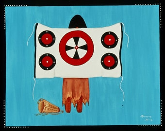 "Acrylic Canvas Painting Original Artwork Native American ""Blanket Of Strength"" #1"