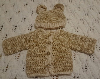 Baby boy crocheted cardigan and hat