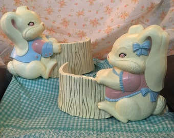 Vintage Burwood Co. Bunny Nursery Wall Pockets