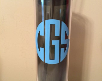 Monogrammed Skinny Tumbler/To Go Cup/Tumbler