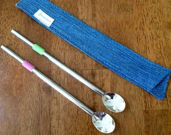 2 Stainless Steel Spoon Straws and 1 Denim Straw Sleeve