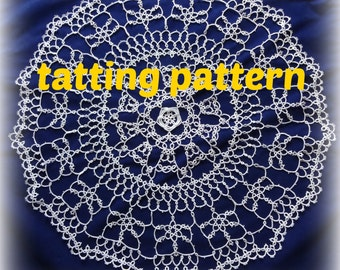 Doily Tatting Pattern PDF Tatting Pattern Instatnt Download Tatting Pattern Round Doily Tatting Pattern
