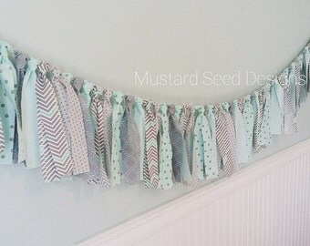 Blue and Gray Garland, Nursery Decor   Baby Shower Decoration   Party Decor