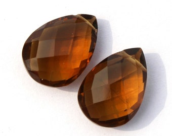 2 Pcs 1 Match Pair 17x12 mm Beer Quartz Faceted Pear Briolettes, Earring Pair, Jewelry Making BR204