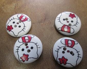 button hello kitty 4 quantity for 1.50