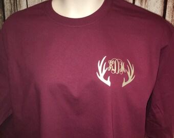 Monogrammed Deer Antler Shirt Monogrammed Deer Antler TShirt Personalized  Deer Antler TShirt Deer Antler TShirt Deer Antler Shirt