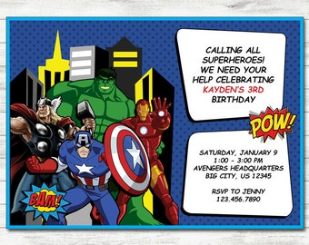 Avengers Invitation, Avengers Party, Avengers Printable Birthday Invitation