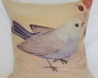 Bluebird with flower 100% Linen Cushion Cover / Pillow Case with FREE Shipping Australia Wide!