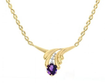 0.07 Carat Diamond and 3.00 Carat Amethyst Leaf 14K Yellow Gold Necklace