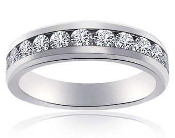 1.00 Carat Round Cut Diamond Wedding Band Unisex 14K White Gold