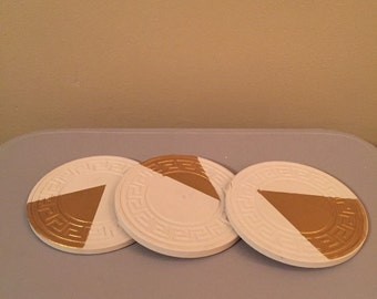 Unique hand painted mid century modern coasters
