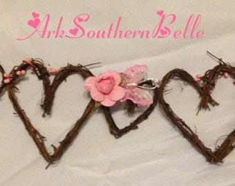 Grapevine HEART GARLAND with Roses and Butterflies, Wedding Arch Garland, Wedding Table Garland, Gazebo Garland, Rose & Butterfly Garland