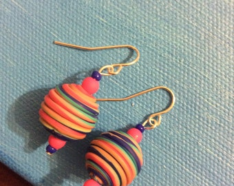 Striped neon earrings