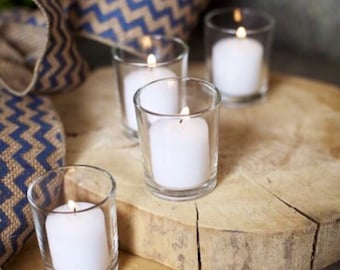 Set Of 12 Votive Holders With Candles, Candle Holder, Wedding Decor, Home Decor, Outdoor/ Indoor Votive Candle Holders.