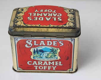 English Tin with Lid, Old Tin Box, Antique Slade's Caramel Toffy