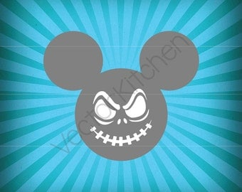 Mickey Inspired Halloween Head Face Template SVG EPS Silhouette DIY Cricut Vector Instant Download