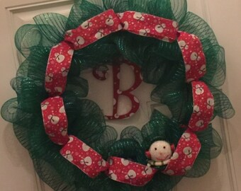 Whimsical Snowman Wreath w/ Your Initial