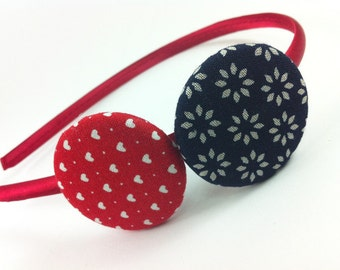 Navy red headband, Fabric buttons, Buttons headband, Girl gift, Hair Accessory, Girls Headband, Hearts fabric, Satin headband, red, navy