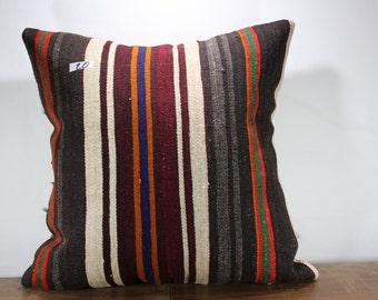 "OVERSIZE KILIM PILLOW Vintage Turkish Handwoven Stripe Kilim Pillow Cover 24""x24"" Cushion Cover 24 inche Pillow Case Sofa Pillow SP6060-20"