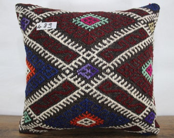 """wool cushion cover 16"""" x 17""""vintage Turkish kilim pillow,decorative kilim pillow,kilim cushion cover,throw pillow,ethnic pillow SP4040-489"""