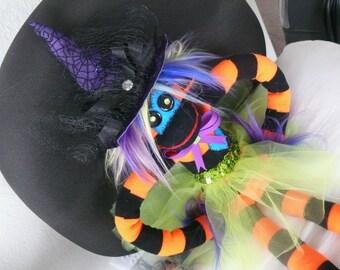Arabella the Witchy Punkey Handmade & Designed Furry Stuffed Plush Sock Monkey