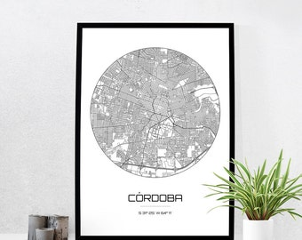 Cordoba Map Print - City Map Art of Cordoba Argentina Poster - Coordinates Wall Art Gift - Travel Map - Office Home Decor