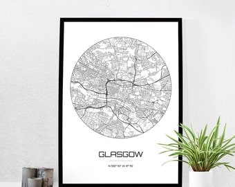 Glasgow Map Print - City Map Art of Glasgow Scotland Poster - Coordinates Wall Art Gift - Travel Map - Office Home Decor