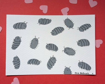 Woodlice party – original illustration – gouache on watercolour postcard