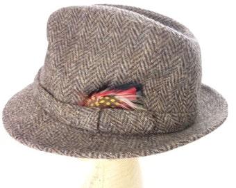 Vintage Harris Tweed Brown Fedora Hat Wool Scotland Size S 6 3/4 - 6 7/8
