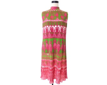 Vintage 70's Ruth Walter Pink Green Accordion Sleeveless Dress Size 10