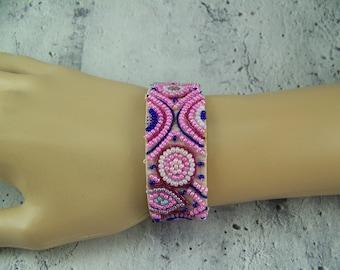 Beaded Cuff Bracelet, Velveteen Bracelet, Seed Bead Bracelet, Embroidered Bracelet, Bead Embroidery, Destash Bracelet, Cuff, Beaded Bracelet
