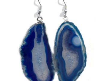Blue Agate Slice Earrings Silver Bail Blue Brazil Agate Slice Earrings Randomly Selected FREE USA SHIPPING!
