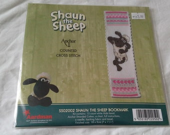 Anchor crafts shaun the sheep bookmark counted cross stitch kit