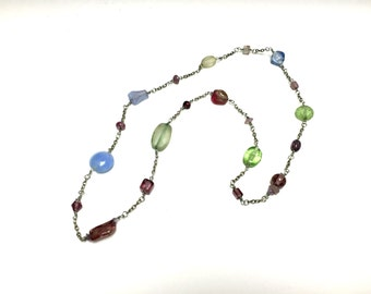 Glass bead and chain necklace