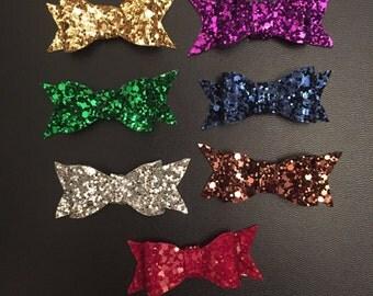 Glitter bows on alligator clips