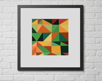 "Modern Wall Art, Mid Century Art, Abstract Print, Geometric Art, Wall Decor, Colorful Triangles, Vintage Art, Colorful Art, ""Angle Works B"""