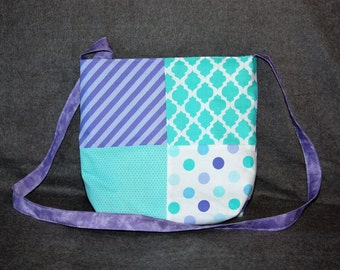Small Patchwork Purse (Turquoise & Purple)