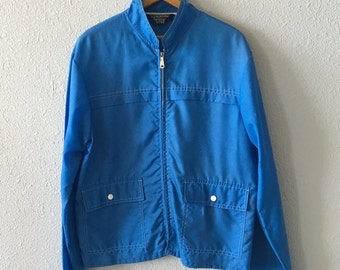 1960's Men's Mid Century Mod Mad Men Vintage Sears Sportswear Nylon Blue Jacket